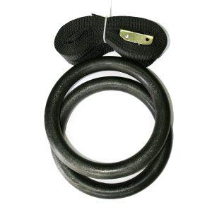 Халки за гимнастика / IRONINSIDE - изработени от подсилена пластика. Халките са с диаметър 18-20 cm, всяка една от които виси от собствен колан.