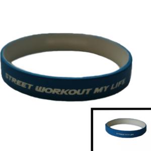 Уникална силиконова гривна с релефен надпис STREET WORKOUT MY LIFE, специално направена за най-големите фенове на Street Workout
