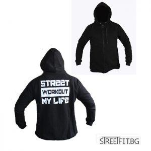 Стрийт уоркоут суитшърт MY LIFE - невероятно стилна качулка, шнурове на качулката, ластици на китката и талията, големи и удобни двойни предни джобове.