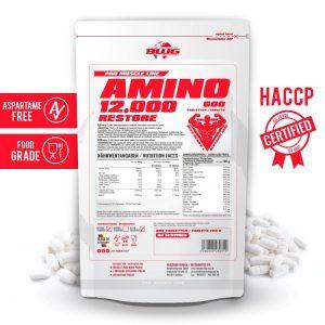 Amino Restore 12000 съдържа и аминокиселината бета аланин, която работи чрез увеличаване на производството на карнозин. Amino Restore 12000 осигурява и аминокиселина Л-глутамин.