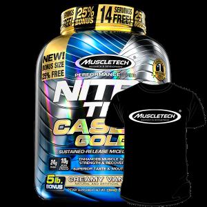 Nitro Tech Casein Gold на Muscle Tech Ви доставя 24 грама висококачествен казеин във всяка доза, който ще захранва мускулите ви в продължение на 8 часа.