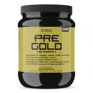 Новият азотен бустер Pre Gold ULTIMATE NUTRITION съдържа цитрулин малат, който е прекурсор на аргинина и увеличава нивата на азотен оксид в тялото.
