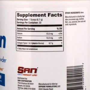 Collagen Types 1&3 Powder SAN / 201гр - е изключително важен протеин под формата на аминокиселини, които подхранват косата, кожата и ноктите.