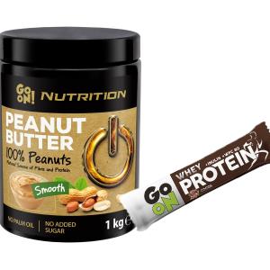 Продуктът Go On Peanut Butter 100% Peanuts е 100% чисто и естествено масло,направено само от фъстъци. Имамека текстураи приятен вкус,съдържа 27% протеини