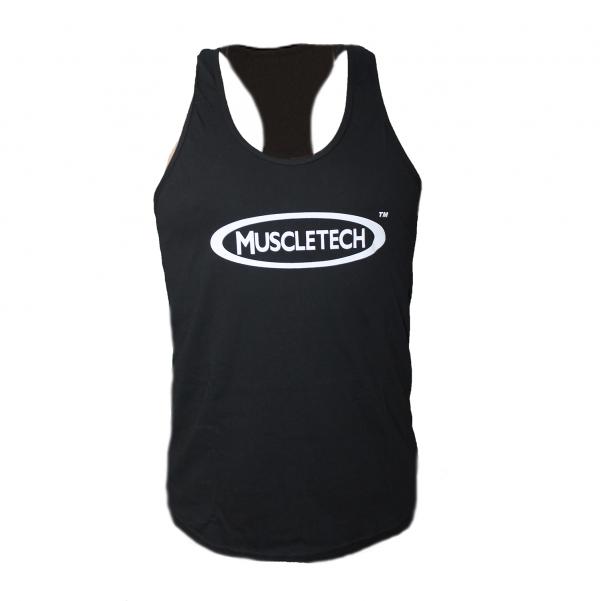 Мъжки спортен потник MuscleTech – черен, идеален за всякакви видове тренировки, или като ежедневно облекло. Произведен от 60% памуки 40% полиестер.
