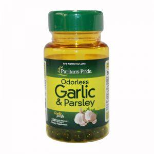 Чесън и магданоз (Garlic&Parsley) / 100капс -хранителна добавка подпомагаща доброто здраве на сърцето и подсилваща имунната система.