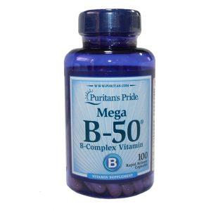B-complex Mega B50 / 100 капс -е хранителна добавка, съдържаща витамини от група В. Необходими за нормалното функциониране на организъма.